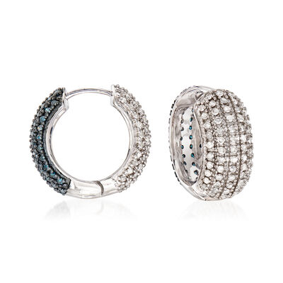 2.00 ct. t.w. White and Blue Diamond Reversible Hoop Earrings in Sterling Silver