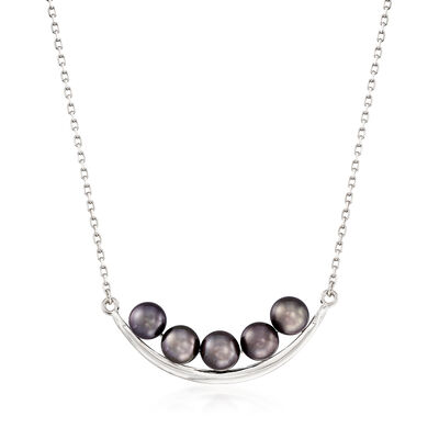 5.5-6mm Black Cultured Pearl Curved Bar Necklace in Sterling Silver, , default