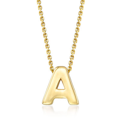 """14kt Yellow Gold Uppercase """"A"""" Initial Necklace, , default"""