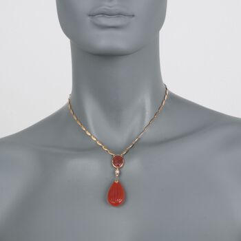 """C. 1935 Vintage Carnelian Drop Necklace with Diamond Accents in 14kt Yellow Gold. 15"""", , default"""