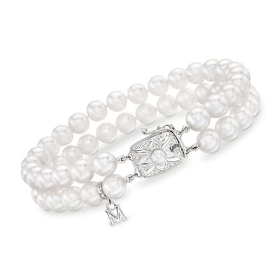 Mikimoto 4-6.5mm A1 Akoya Pearl Two Strand Bracelet with 18kt White Gold, , default