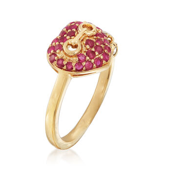 .50 ct. t.w. Ruby Heart Ring in 18kt Gold Over Sterling