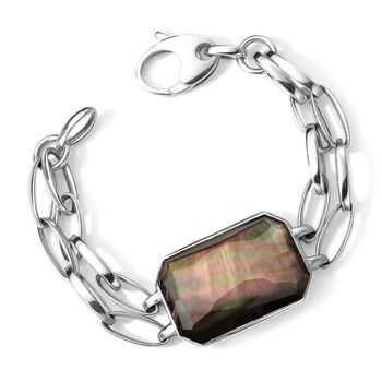 "C. 2013 Ippolita ""Stella - Paparazzi"" Black Mother-Of-Pearl Doublet Bracelet in Sterling Silver. 7"", , default"