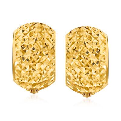 Italian 14kt Yellow Gold Shield Hoop Earrings