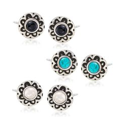 Multi-Stone Jewelry Set: Three Pairs of Floral Earrings in Sterling Silver, , default