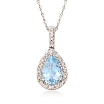 1.55 Carat Aquamarine Pendant Necklace With Diamonds in 14kt White Gold, , default