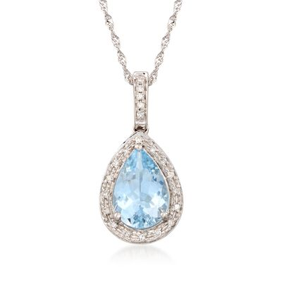1.55 Carat Aquamarine Pendant Necklace with Diamonds in 14kt White Gold, , default