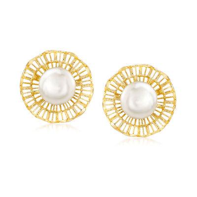 Italian 7.5mm Cultured Pearl Stud Earrings in 18kt Yellow Gold