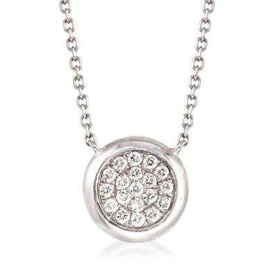 .20 ct. t.w. Pave Diamond Circle Necklace in 14kt White Gold, , default