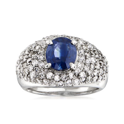C. 1990 Vintage 2.17 Carat Sapphire and 1.50 ct. t.w. Pave Diamond Ring in Platinum, , default