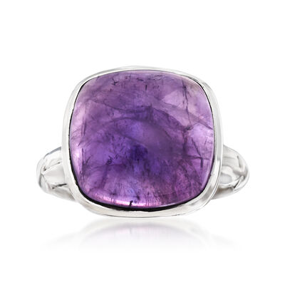 10.00 Carat Square Amethyst Cabochon Ring in Sterling Silver , , default
