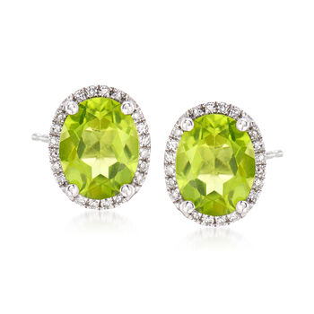 3.60 ct. t.w. Peridot Stud Earrings With .10 ct. t.w. Diamonds in  14kt White Gold, , default