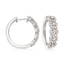 1.00 ct. t.w. Diamond Halo Hoop Earrings in Sterling Silver, , default