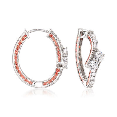 1.40 ct. t.w. CZ Hoop Earrings with 18kt Rose Gold Over Sterling and Sterling Silver, , default