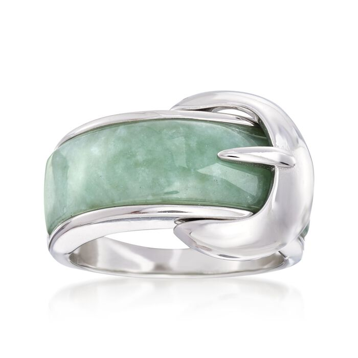 Green Jade Buckle Ring in Sterling Silver. Size 5, , default