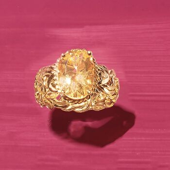 5.00 Carat Citrine Byzantine Ring in 14kt Yellow Gold, , default