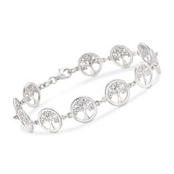 Italian Sterling Silver Tree of Life Bracelet, , default