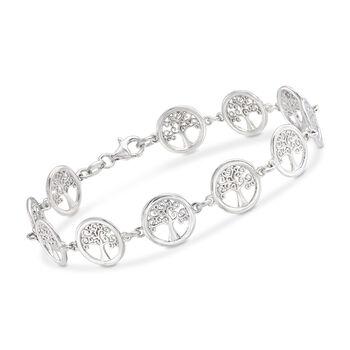 Italian Sterling Silver Tree of Life Bracelet, , default