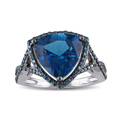 5.00 Carat London Blue Topaz and .47 ct. t.w. Blue Diamond Ring in 14kt White Gold, , default