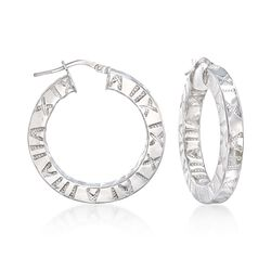"Italian Sterling Silver Roman Numeral Hoop Earrings. 1 1/4"", , default"