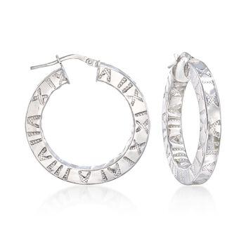 """Italian Sterling Silver Roman Numeral Hoop Earrings. 1 1/4"""", , default"""