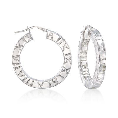 Italian Sterling Silver Roman Numeral Hoop Earrings, , default