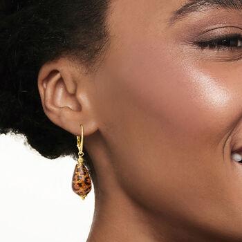 Italian Leopard Murano Glass Drop Earrings in 18kt Gold Over Sterling, , default
