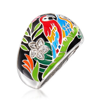 "Belle Etoile ""Macaw"" Multicolored Enamel and .12 ct. t.w. CZ Ring in Sterling Silver. Size 7, , default"