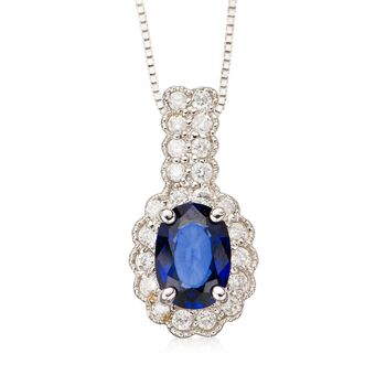 "1.00 Carat Oval Sapphire and Diamond Necklace in 14kt White Gold. 16"", , default"