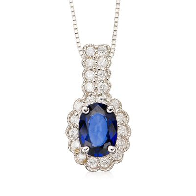 1.00 Carat Oval Sapphire and Diamond Necklace in 14kt White Gold, , default