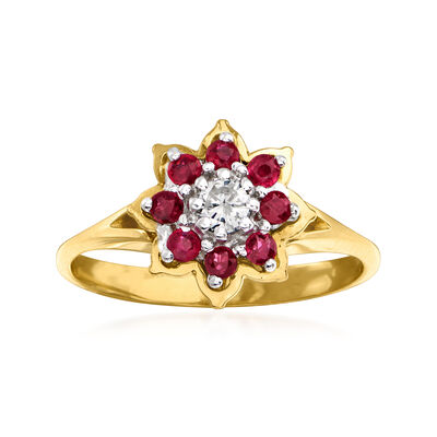 C. 1970 Vintage .16 ct. t.w. Ruby Ring with Diamond Accent in 14kt Yellow Gold