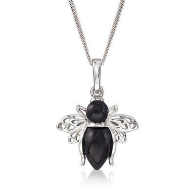 Onyx Bumble Bee Pendant Necklace in Sterling Silver
