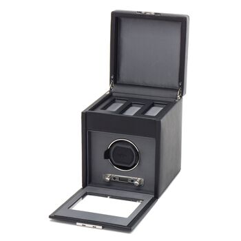 """""""Viceroy"""" Black Faux Leather Single Watch Winder with Storage by Wolf Designs, , default"""