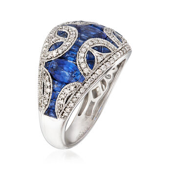 3.60 ct. t.w. Sapphire and .52 ct. t.w. Diamond Dome Ring in 14kt White Gold. Size 7, , default