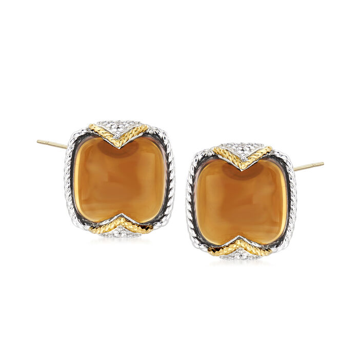 """Andrea Candela """"Dulcitos"""" 8.64 ct. t.w. Cognac Quartz Earrings in Sterling Silver and 18kt Yellow Gold"""