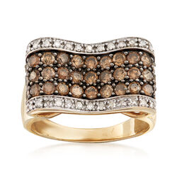 C. 1990 Vintage 1.40 ct. t.w. Champagne and White Diamond Bow Ring in 10kt Yellow Gold, , default