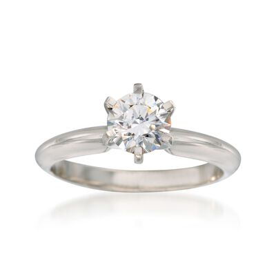 14kt White Gold Six-Prong Engagement Ring Setting, , default