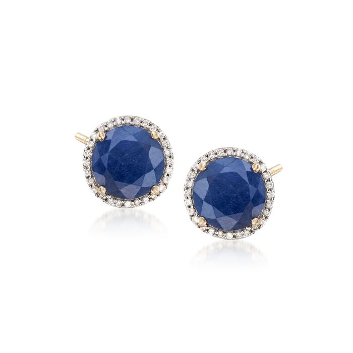 7.00 ct. t.w. Opaque Sapphire and .22 ct. t.w. Diamond Earrings in 14kt Yellow Gold, , default