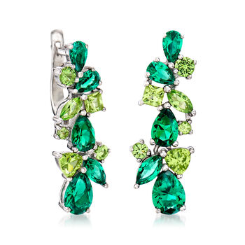 5.30 ct. t.w. Green CZ Drop Earrings in Sterling Silver, , default