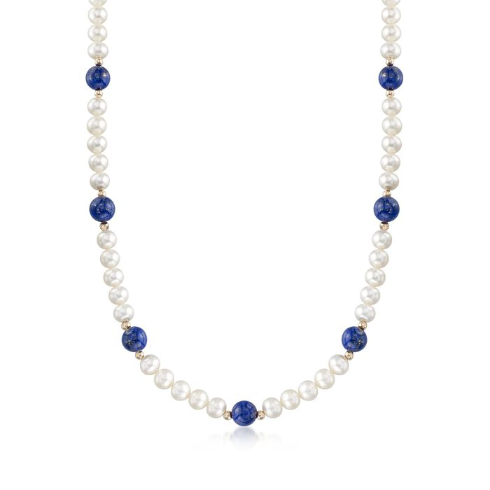 """Lapis and 6.5-7mm Cultured Pearl Necklace with 14kt Yellow Gold. 18"""", , default"""