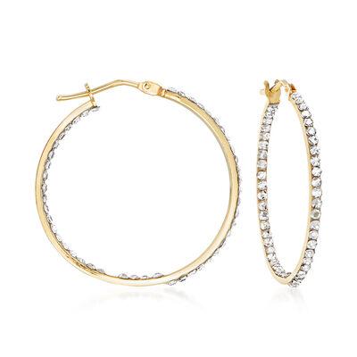 14kt Yellow Gold and Swarovski Crystal Inside-Outside Hoop Earrings, , default