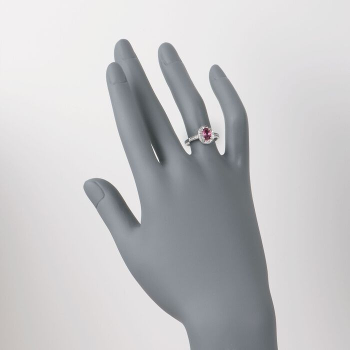 .75 ct. t.w. Pink Tourmaline and .10 ct. t.w. Diamond Ring in 14kt White Gold