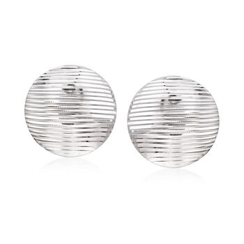 Sterling Silver Ridged Circle Disc Earrings, , default