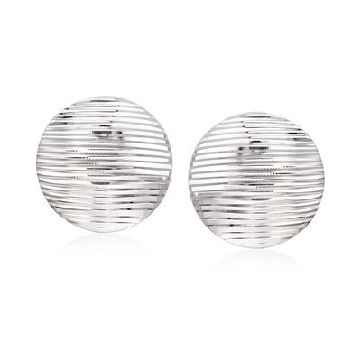 Sterling Silver Ridged Circle Disc Earrings, , default