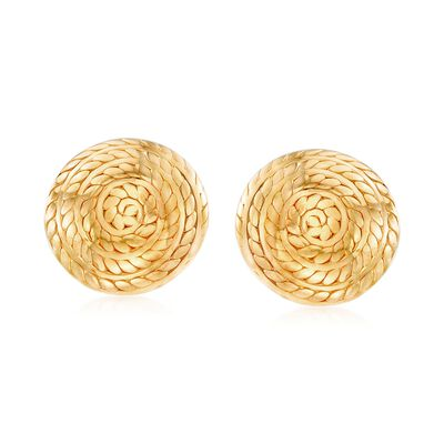 Italian 18kt Gold Over Sterling Silver Roped Swirl Earrings