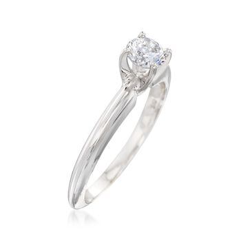 C. 2000 Vintage .44 Carat Diamond Solitaire Engagement Ring in 14kt White Gold. Size 6.5, , default