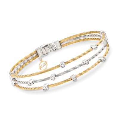 "ALOR ""Classique"" .18 ct. t.w. Diamond Two-Tone Sterling Silver Cable Bracelet with 18kt Two-Tone Gold"