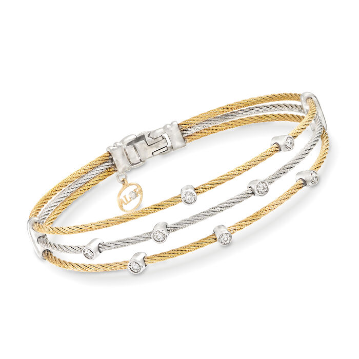 """ALOR """"Classique"""" .18 ct. t.w. Diamond Two-Tone Sterling Silver Cable Bracelet with 18kt Two-Tone Gold. 7"""""""