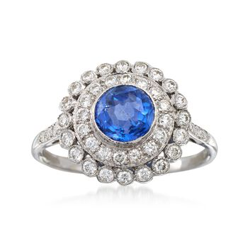 C. 1990 Vintage 1.05 Carat Sapphire and .50 ct. t.w. Diamond Ring in 18kt White Gold. Size 6.75, , default
