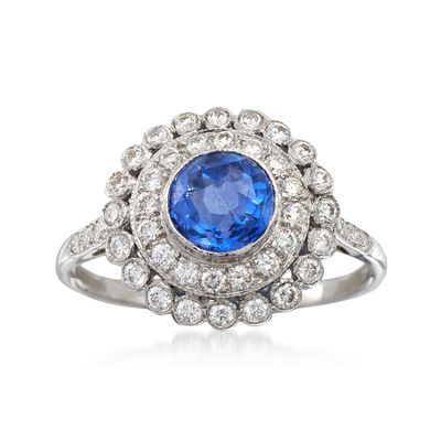 C. 1990 Vintage 1.05 Carat Sapphire and .50 ct. t.w. Diamond Ring in 18kt White Gold, , default